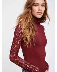 Free People - Rib And Lace Turtleneck - Lyst