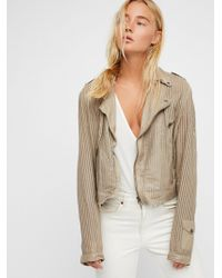 Free People - Perforated Leather Moto Jacket - Lyst