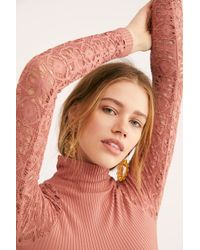 Free People - Rib And Lace Polo Neck - Lyst