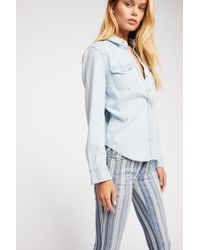 Free People - Denim Super Striped Flare Jeans - Lyst