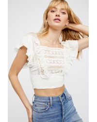 757987a6384b7 Free People Saachi Smocked Top in Blue - Lyst
