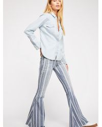 Free People - Denim Super Striped Flare Jeans By We The Free - Lyst