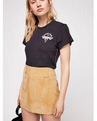 Free People - Mod Leather Mini Skirt - Lyst