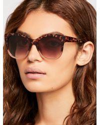 Free People - Snowy Leopard Sunglasses - Lyst