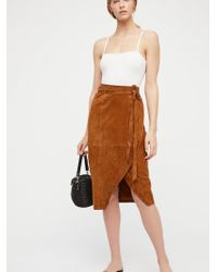 Free People - Suede Wrap Skirt - Lyst