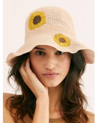 Free People - Daisy Embroidered Straw Bucket Hat - Lyst