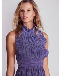 Free People - Pleated Shine Fit & Flare Mini Dress - Lyst