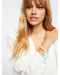 Free People - Tasseled Wooden Shell Bracelet - Lyst