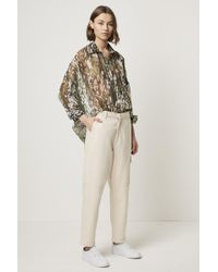 French Connection - Crinkle Reptile Print Popover Shirt - Lyst
