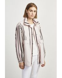 a6addc910a1e French Connection - Cotton Oversized Stripe Bomber Jacket - Lyst