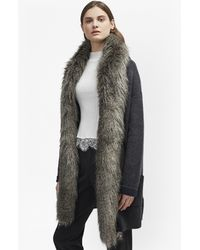 French Connection - Double Sided Faux Fur Vhari Coatigan - Lyst