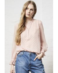 French Connection | Corsica Sheer Pop Over Blouse | Lyst