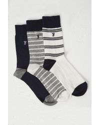 French Connection - 3 Pack Oakley Stripe Socks - Lyst
