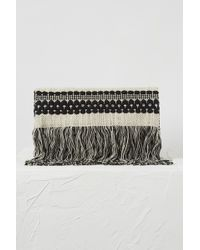 French Connection - Kala Woven Fringed Clutch - Lyst