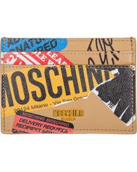 Moschino - Genuine Leather Credit Card Case Holder Wallet - Lyst