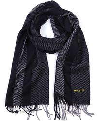 Bally - Wool Scarf Multi Slate Jacquard - Lyst