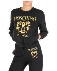 Moschino Women's Sweatshirt Roman Double Question Mark - Black