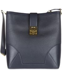 MCM - Leather Shoulder Bag Blue - Lyst