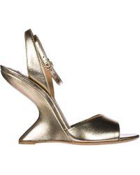 Ferragamo - Leather Heel Sandals Arsina - Lyst