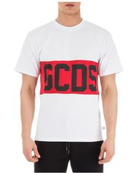 Gcds - White T-shirt With Logo Print - Lyst