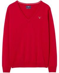 GANT - Super Fine Lambswool V-neck Sweater - Lyst