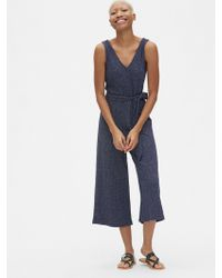 bc522c8698f Gap - Sleeveless Ribbed Knit V-neck Jumpsuit - Lyst