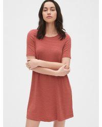 894f981373ff Gap - Softspun Stripe Short Sleeve Swing Dress - Lyst