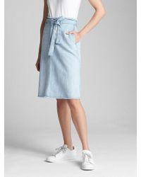 Gap - Belted A-line Denim Skirt - Lyst