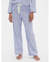 Gap Print Pajama Pants In Poplin - Blue