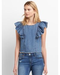 f66ec0cac3 Lyst - Gap Sleeveless Denim Top With Frayed Detail in Blue