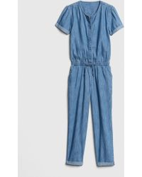 bb8d52dce320 Lyst - Gap Denim Ruffle Jumpsuit in Blue