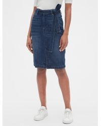 Gap High Rise Denim Pencil Skirt With Tie-belt - Blue