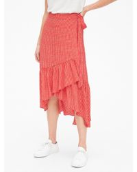 Gap Ruffle Wrap Midi Skirt - Red