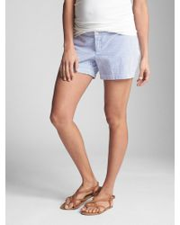 eb8fa67fb280 Vila Chambray Ruffle Detail Shorts in Blue - Lyst