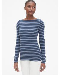 a8cd54e6 Gap Modern Stripe Long Sleeve Crewneck T-shirt in Blue - Lyst