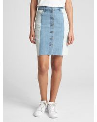 Gap - High Rise Spliced Denim Skirt - Lyst