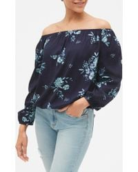 d0560d14ac0e81 Lyst - Ann Taylor Petite Floral Embroidered Off The Shoulder Top in ...