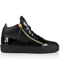 Giuseppe Zanotti - Kriss Mix Leather Mid-top Sneakers Black/gold - Lyst