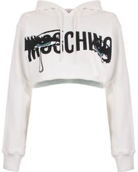 Moschino - Cropped Hoodie With Logo - Lyst