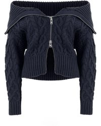 Self-Portrait - Zipped Cable Knit Cardigan - Lyst