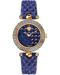 Versace - Micro Vanitas Watch Blue/rose Gold - Lyst