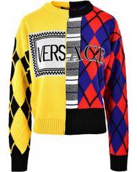 Versace - Multi Pattern Logo Knit Jumper Multicolour - Lyst