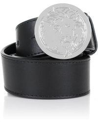 Versus    Engraved Lion Head Belt Black/nickel   Lyst