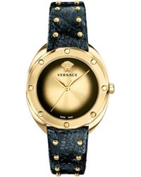 Versace - Shadov Snakeskin Leather Strap Watch - Lyst
