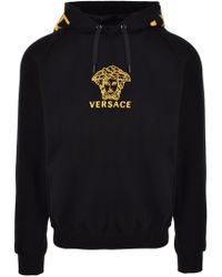 Versace - Classic Medusa Embroidery Hoodie Black/gold - Lyst