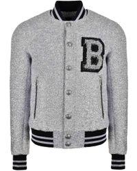 Balmain - Metallic Teddy-fleck Varsity Jacket With B Badge Silver - Lyst