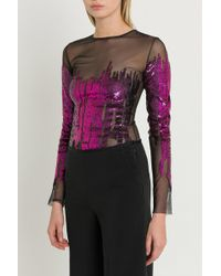 Amen - Bodysuit With Sequins Embroidery - Lyst