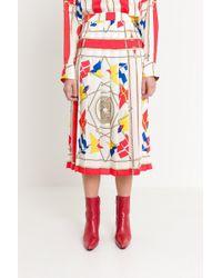 MSGM - Pleated Printed Skirt - Lyst