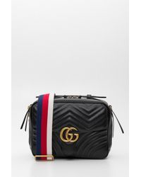 8ea504b4c Gucci Small Marmont Chevron Shoulder Bag in Red - Lyst