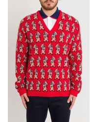 Gucci - Wool Pig Print V-neck Sweater - Lyst